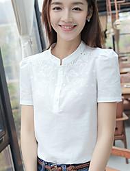 Zeichen 2017 Sommer neue Frauen koreanischen Kurzarm-Shirt bestickt lose Baumwoll-T-Shirt kleines Hemd Hedging