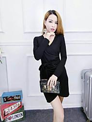 16 новых женщин&# 39; s осень и зима моды сладкий темперамент тонкий сексуальный V-образным вырезом с длинными рукавами платье талии