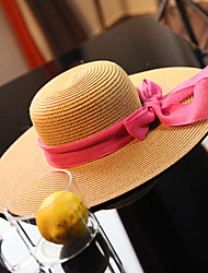 Women's Fashion Straw Hat Sun Hat Wide Brim Hat/Cap Cute Casual Bowknot Beach Summer Beige/Khaki/Black