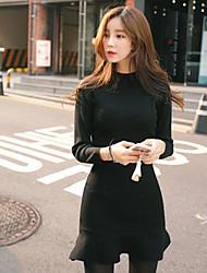 Nouvelle femme coréenne mince mince colse à pêche à manches longues flottante basée sous forme de tricot de hanche