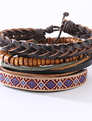The New Vintage Cowhide Ancient Hand Woven Bracelet Cortical Layers Hand Rope Men's Bracelet Adjustable Size045