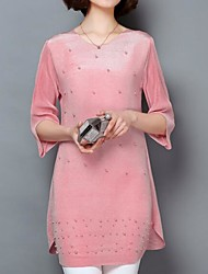 Women's Casual/Daily Simple Spring Summer Blouse,Solid V Neck ½ Length Sleeve Polyester Medium