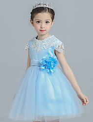 Ball Gown Short / Mini Flower Girl Dress - Cotton Satin Tulle Jewel with Flower(s) Sash / Ribbon Ruffles