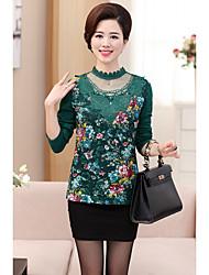 Feminino Camiseta Casual SimplesSólido Estampado Fibra Sintética Colarinho Chinês Manga Longa