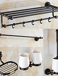 A Set of Five Products(Bathroom Shelf/Towel Warmer/Toothbrush Holder/Towel Bar/Toilet Brush Holder/Soap Dishes) Of Oil Rubbed Bronze