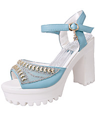 Women's Heels Spring Summer Creepers Novelty Gladiator Club Shoes Patent Leather Wedding Dress Casual Party & EveningChunky Heel Platform