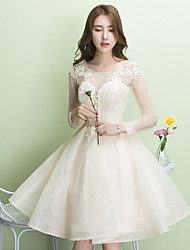 Knee-length Jewel Bridesmaid Dress - Lace-up Long Sleeve Lace