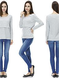 Sweatshirt Femme Sports Décontracté / Quotidien simple Actif Couleur Pleine Col Arrondi Extensible Coton Manches longues Printemps Automne