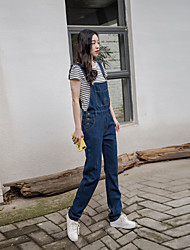 Sign jianling New College Wind wild casual denim overalls female