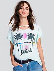 Damen Blumen Einfach Niedlich Ausgehen Lässig/Alltäglich T-shirt,Rundhalsausschnitt Sommer Herbst Kurzarm Baumwolle Undurchsichtig