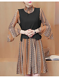 Sign European leg spring new Korean printing knitted vest two-piece long-sleeved chiffon dress female