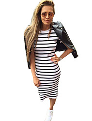 Europe AliExpress autumn explosion models navy striped long section of loose dress fashion sexy ladies