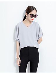 V-neck couleur unie grande taille large pieds minces silhouette sauvage à manches courtes chemise en mousseline de soie modèles féminins