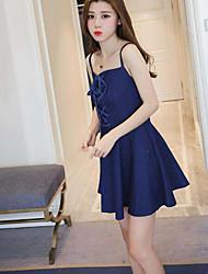 Sign 2017 new Korean sexy Slim waist denim sling before bandage dress chest wrapped skirt
