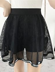 Damen Vintage Einfach Mittlere Hüfthöhe Lässig/Alltäglich Arbeit Über dem Knie Röcke A-Linie,Tüll einfarbig Sommer Herbst