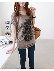 2013 nouvelles femmes impression de plumes poil à chaud peintre t-shirt manches courtes femmes bonne qualité