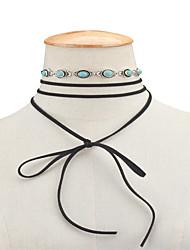 Femme Collier court /Ras-du-cou Collier multi rangs Turquoise Bijoux Alliage Vintage euroaméricains Noir Bijoux Pour Quotidien Décontracté