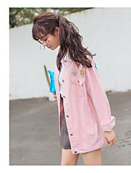 Sign 2017 Korean new loose wild pink plexiglass buckle denim jacket