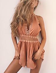 Feminino Sensual Moda de Rua Cintura Alta Informal Casual Bandagem Macacão,Delgado Sólido Renda Frente Única Primavera Verão