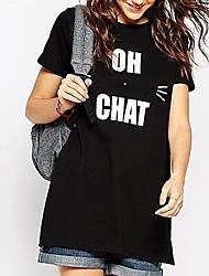Damen Solide Einfach Lässig/Alltäglich T-shirt,Rundhalsausschnitt Sommer Kurzarm Baumwolle