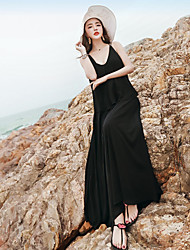 Sign seaside resort beach dress sexy deep V halter dress Bohemian chiffon dress big swing