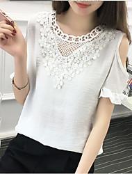 Damen Solide Sexy Einfach Lässig/Alltäglich T-shirt,Rundhalsausschnitt Frühling Sommer Kurzarm Polyester Mittel