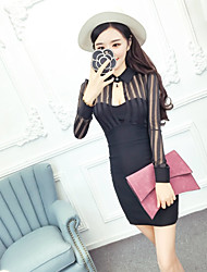 Women's Cut Out Nett spring and summer fashion lace stitching package hip long-sleeved dress