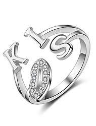 Ring Alphabet Shape Heart Wedding Party Casual Jewelry Sterling Silver Ring 1pc,Adjustable Silver