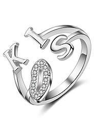 Anello Cuore Argento sterling Lettere dell'alfabeto Argento Gioielli Per Matrimonio Feste Casual 1 pezzo