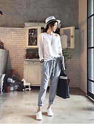 2017 spring new Korean women's casual pants harem pants Korean version of the popular vertical stripes casual pants