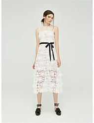 Summer aqueous perspective lace flowers lace waist vest dress 7823
