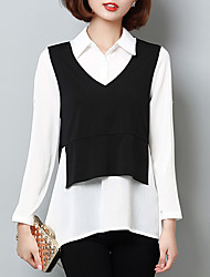 Women's Going out Casual/Daily Work Street chic Spring Summer Shirt,Color Block Shirt Collar Long Sleeve Polyester