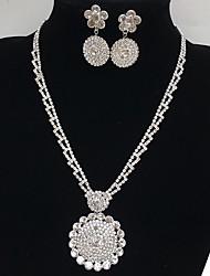 Bijoux 1 Collier 1 Paire de Boucles d'Oreille Nuptiales Parures Circulaire A Fleurs Pendant Mariage Soirée Occasion spéciale Quotidien