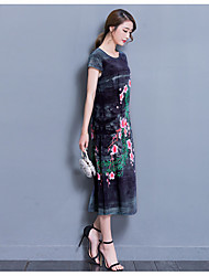 Women's Going out Loose Dress,Floral Round Neck Knee-length Short Sleeve Silk Summer High Rise Micro-elastic Thin