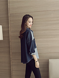 Women's Casual/Daily Party Simple Cute Summer Fall Shirt,Solid V Neck Long Sleeve Silk Medium