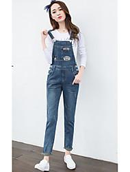 excelente cliente realmente fazer 2017 nova primavera solta macacão jeans lavados remendo feminino