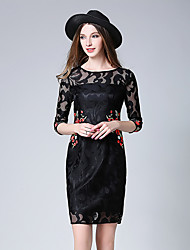 Women's Going out Vintage A Line Dress,Embroidered Crew Neck Above Knee Sleeveless Polyester Summer Mid Rise Inelastic Thin
