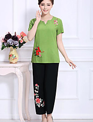 Sign 2016 new women's middle-aged ethnic style embroidery cotton dress suit