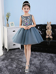 Short / Mini Tulle Junior Bridesmaid Dress Princess Jewel with Appliques