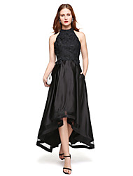 TS Couture Formal Evening Dress - Elegant A-line Jewel Asymmetrical Lace Satin with Lace Pleats