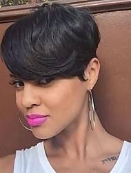 elegant teilweise fringe schwarze kurze Haare synthetische Perücke