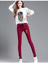 знак вышивка 2017 года весной и осенью внешний носить леггинсы упругие талии брюки стрейч женские случайные брюки черные брюки ноги