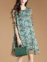 Для женщин На выход На каждый день Свободный силуэт Платье Цветочный принт,Вырез под горло Мини Рукав ½ Полиэстер Весна ЛетоСо