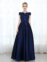 Formal Evening Dress Sheath / Column Off-the-shoulder Floor-length Mikado with Beading Lace