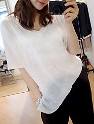 algodão bambu brancas de manga curta t-shirt mulheres grandes mulheres tamanho&# 39; s verão solta v-pescoço de algodão maré