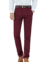 Hombre Sencillo Tiro Medio Micro-elástica Chinos Pantalones,Corte Recto Delgado Un Color