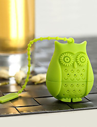 1PCS Creative owl tea filter tea roses for silicone gel tea tea tea strainer(Random color)