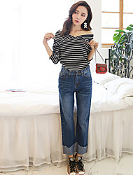 Sign rummaged new wide leg jeans female pantyhose