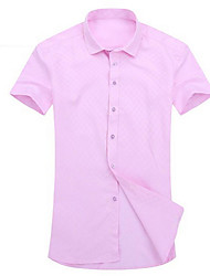 Men's Fashion Casual Large Size Solid Color Short-Sleeved Shirt