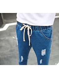 assinar ~ nova primavera-coreano selvagens jeans casual harem pants em nove buracos - apropriação de terras local